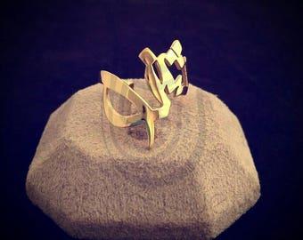 Gold Plated Arabic Calligraffiti Name Ring - Arabic Name Ring