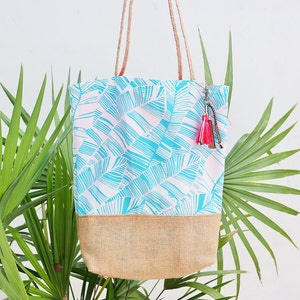 Personalized beach bag / palm tree print / tropical tote bags / summer tote handbags / tropical wedding reception