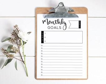 "Monthly Goals Printable, Monthly Goals Worksheet, Monthly Goals Checklist, 8.5"" x 11"" Monthly Goals Template, Instant Download."