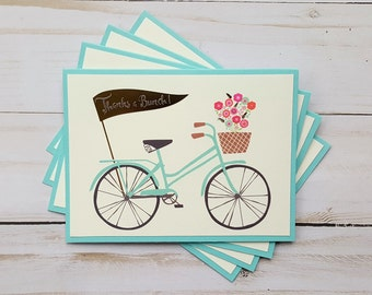 Blank Bike Cards, Thank You Cards, Bike Note Cards, Bicycle Note Cards, Foil Cards, Thank You Notes, Bicycle Card Set, Thanks a Bunch