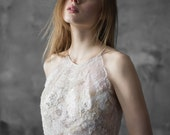 Lace and chiffon halter-neck wedding dress, backless wedding gown with slits, 3D lace detail // Melita