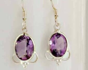 Purple Amethyst Drop Earrings, Sterling Silver Amethyst Earrings, February Birthstone, Amethyst Jewelry, Purple Amethyst Earrings, UK Seller