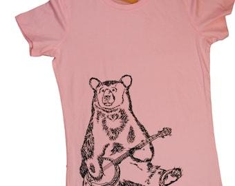Womens TShirts - Banjo Bear Womens Tee - Womens Animal T Shirt - Pink Tees - Pink Tshirts - Bear Tshirt - Pink Womens Shirt - Pink Clothes