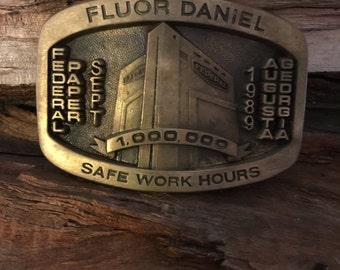 Rare, Belt Buckle,  Fluor Daniel, Federal Paper, Corp, Solid Brass, Men's accessories, Augusta Ga