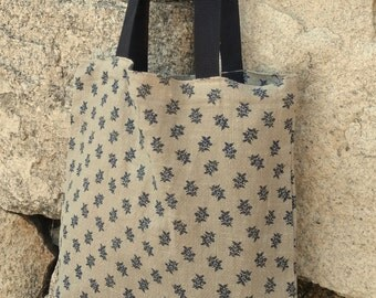 Simple flower printed Linen tote bag / Natural linen soft fabric used