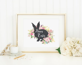Happy Easter Printable Easter Bunny Print Pastel Floral Easter Decoration Easter Table Sign Spring Floral Wall Art Easter Decor Pink Mint