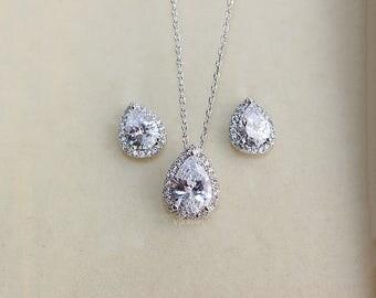 Bridal Cubic Zirconia Teardrop Jewelry Set Wedding Jewelry Earrings and Necklace Set Bridesmaid Jewelry CZ Set Crystal Jewelry Set - AS0008