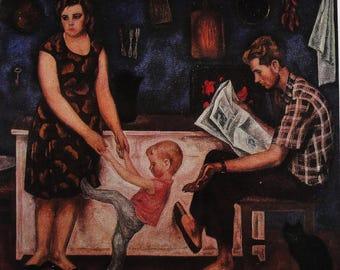 The Bolotovs Family - Artist V. Popkov - Vintage Soviet Postcard, 1970s. Aurora Art Publ. Father, Mother, Child, Cat