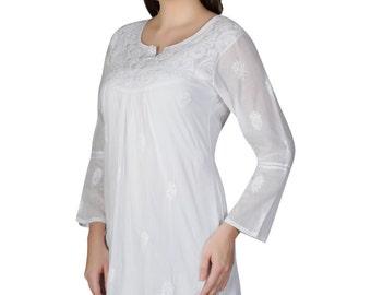 Ladies tops dress Hand Embroiderd  Chikankari beach cover up/Kurtis/Top/Tunic/ kurta /blouse for summer wear women/girls Multiple sizesIKD27