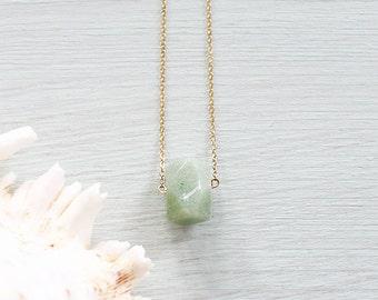 Aventurine Necklace - Small Aventurine Nugget Necklace - Natural Aventurine Crystal Necklace - Green Gemstone Necklace - Virgo Zodiac Stone