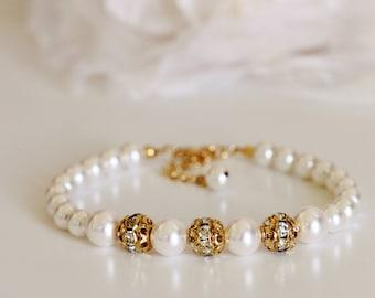 Pearl Bridal Bracelet Bridesmaid Bracelet Bridesmaid Gift Swarovski Crystal Pearl Bracelet Rhinestone Bracelet Wedding Jewelry Wedding Gift