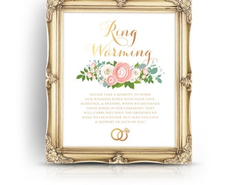 The JENNY . Ring Warming Ceremony Sign . Print or PDF .  Gold Pink Ranunculus Rose Peony Dusty Miller . Wedding Ring Blessing Table Signage