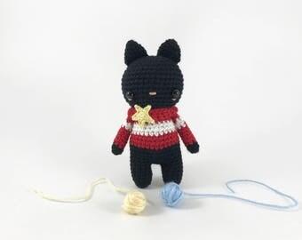 Crochet Cat Doll, Amigurumi Cat, Stuffed Cat, Crochet Animal, Crochet Kitty, Little Amigurumi, Plush Softie Doll, Amigurumi Animal, Black