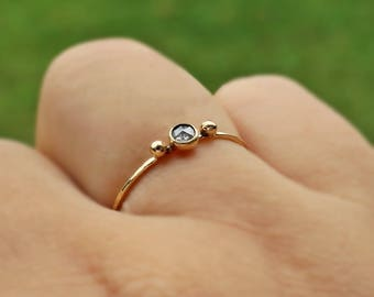 14 K Rose Cut Diamond Ring, salt & pepper diamond ring, 3 mm diamond ring, diamond promise ring, diamond bezel, engagement ring diamond