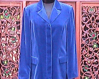 Vintage United Colors of Benetton Blue velvet coat