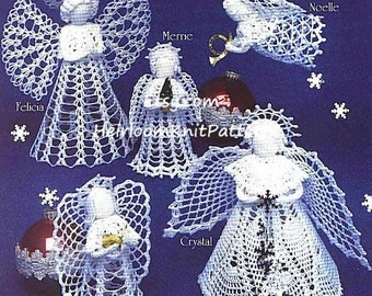 6 Angels Crochet Pattern Tree Top Angel Standing Angel Christmas Ornaments Tree Trims Decoration Angels Christmas Crochet PDF Pattern - 1070