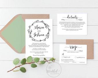 Rustic Wedding Invitation Template, Printable Wedding Invitations, Boho Wedding Invite, RSVP & Details Card, Editable PDF Template