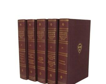 Brown Harvard Classics, Vintage Books, Interior Design, Home Decor,  Decorative Books, Dark Green Harvard Classics, Staging Prop