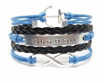 REFUSE TO SINK Bracelet | Anchor Bracelet | Infinity Bracelet | Personalized Nautical Jewelry | Inspirational | Encouragement | Motivational
