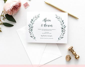 Wedding Invitation template rustic printable invitation set | Leaves wreath Invitation, RSVP, Info | Royal Gardens | Editable printable