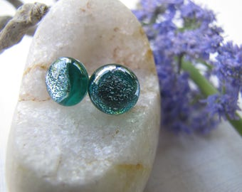 Teal Dichroic Glass Stud Earrings, Aqua and Silver Studs, Teal Green Dichroic Earrings, Blue Green Studs, Silver and Teal, Michigan Artist