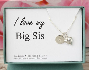 Big Sis Necklace, Gift for sister, Sisters Jewelry, Personalized initial charm, 925 Silver Jewelry, Sterling Silver Dainty Heart necklace