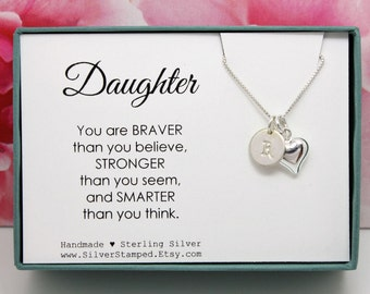 Gift for Daughter Necklace, Sterling Silver Initial, You are braver than you believe, Personalized Gift, birthday graduation boxed gift