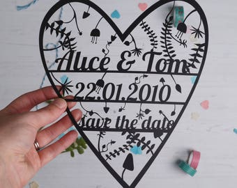 Personalised Save the date Paper Cut Invitation.  wedding paper cut, gifts for her, gifts for couples, wedding stationary, save the date.
