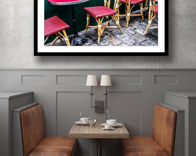 Featured listing image: Picture of a Parisian coffee shop in Montmartre - Paris - France - Photography + Black Frame - Wall Decoration
