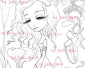 Digital stamps, Digi, Flowers, Girl, Carnivorous flowers, Fantasy, Coloring pages, Crafting, Cardmaking, Making cards. Exotic Flowers