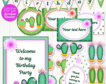 Cactus party printable kit - cactus party decor for cactus birthday - cactus printable party: bunting, tags, labels, signs - cactus decor