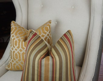 Stripe Decorative Pillow Cover, Gold Brown Beige Throw Pillow Cover, Housewares Decor, Pillow Decor, Accent Pillow Cover, Homeliving
