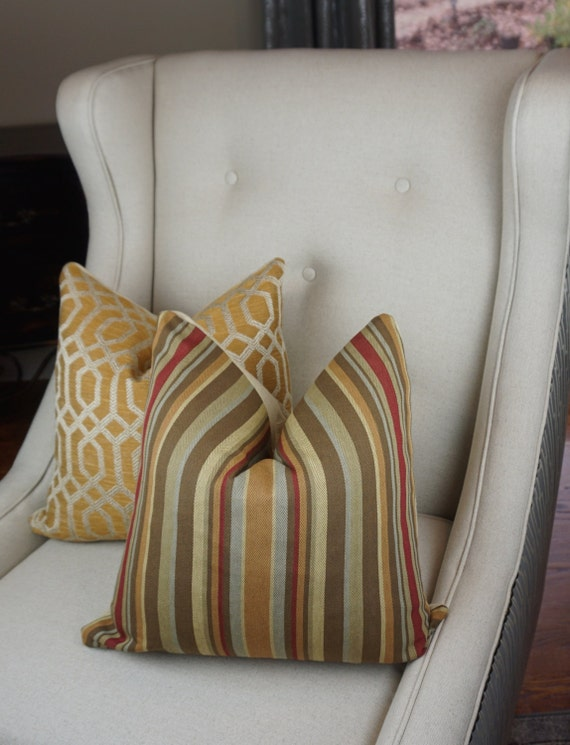 Stripe Decorative Pillow Cover Gold Brown Beige Throw Pillow