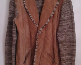 Vintage 1970's Collage Man Brown Space Dyed Knit Tan Suede Cardigan Jacket Sz XL Hippie
