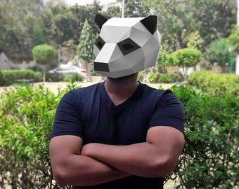 DIY Papercrafts,Panda Mask,Party mask,Halloween mask,Party costume,Paper mask,Printable mask,Mama Panda, Panda bear,Origami mask,Polar bear