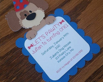 Puppy Birthday Invitation - Dog Birthday - Doggy Birthday Invitation - Handmade, Diecut, Silhouette, Puppy, Dog, Doggy
