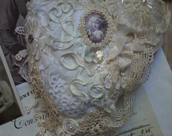 Tattered vintage shabby hanging heart,embellished ,antique lace,pillow,brooch pillow