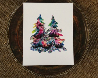 Sisters Trees, Watercolor, Print, Pacific Northwest, Fine Art