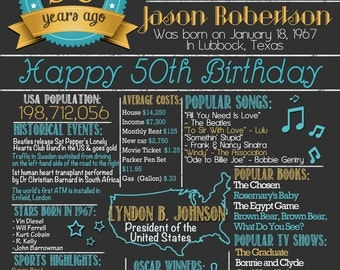 50th Birthday Poster | 50th Birthday Chalkboard Poster | 50 Years Ago | Born in the year 1967 | Gift - Photo Prop | DIGITAL FILE - PRINTABLE