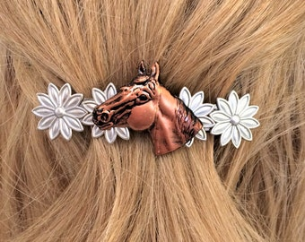 Horse Barrette and Silver Daisies, large hair clip horse, Horse gift