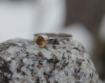 Golden citrine and oxidized sterling silver statement ring * Modern, contemporary, reticulated, wedding and engagement ring