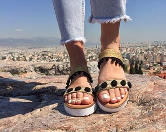 Leather Sandals Women, Gladiator Sandals, Greek Sandals, Flat Sandals, Slingback Sandals, Made in Greece by Christina Christi Jewels