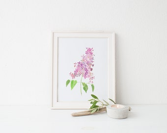 Watercolor lilac print, floral painting, colorful wall art