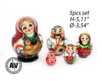"Russian nesting dolls Matryoshka Russian stacking dolls Babushka dolls Home Decor Kids nesting dolls Handmade gifts Сhicken Hen 5"" 13cm 5in1"