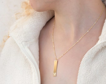 14kt Gold BAR Necklace: Engraved Name Initial, Gold Bar Necklace 14K, Gold Name Bar Necklace, Gold Fill and Sterling Silver, Gold Filled Bar