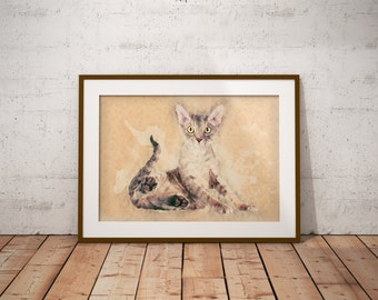 Devon Rex Cat Cat breeds Art Devon Rex Cat Canvas Print Grey Devon Rex on Canvas Watercolor Devon Rex Abstract Giclee with Grey Cat