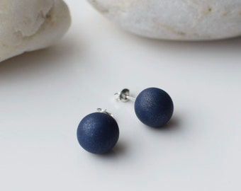Navy Stud earrings, Polymer Clay earrings, Simple Stud earrings, Blue Post earrings, Everyday earrings, Handmade Stud earrings, Ball Studs