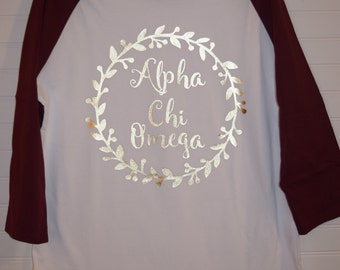 Alpha Chi Omega 102 Jersey with Contrast Sleeves and Gold Foil Design