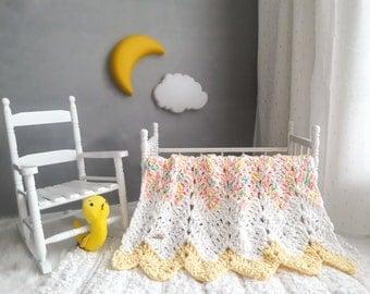 Pastel Baby Blanket ~ Crochet Baby Blanket ~ Pastel Baby Bedding ~ Nursery Decor ~ White Baby Blanket ~ Pink Baby Blanket ~ Baby Shower Gift