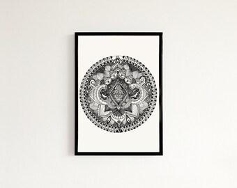 Psychedelic Mandala - Hand drawn art print